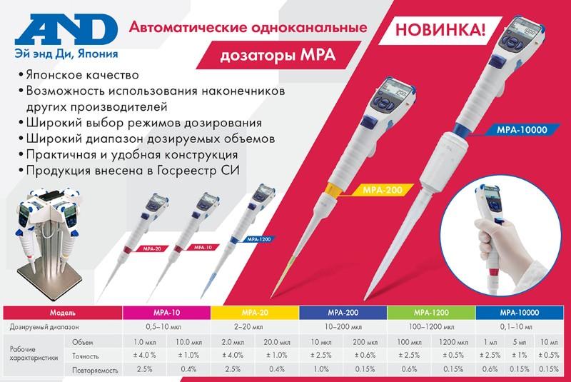 Технические характеристики автоматических дозаторов A&D серии MPA